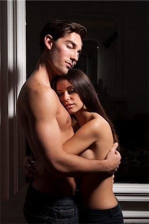 desire - Semi nude couple hugging Stock Photo - Premium Royalty-Free, Code: 649-06532544
