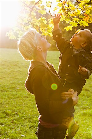Mother and son examining leaves in park Stock Photo - Premium Royalty-Free, Code: 649-06532693