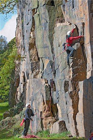 rock climber - Rock climbers scaling steep face Stock Photo - Premium Royalty-Free, Code: 649-06533541