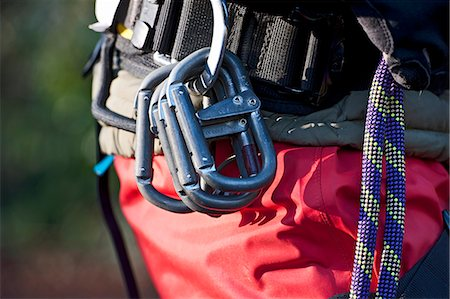 rock climber - Close up of rock climbers carabiners Stock Photo - Premium Royalty-Free, Code: 649-06533556