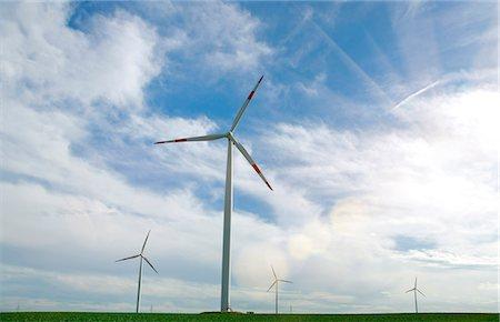 Wind turbines in rural landscape Stock Photo - Premium Royalty-Free, Code: 649-06622323