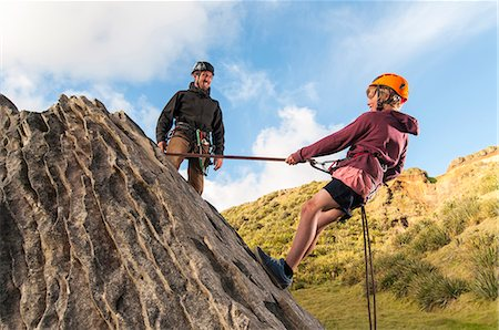 rock climber - People abseiling in rock climbing lesson Stock Photo - Premium Royalty-Free, Code: 649-06622365
