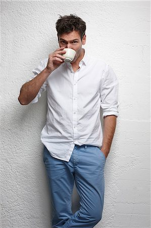 Man drinking cup of coffee Stock Photo - Premium Royalty-Free, Code: 649-06623034
