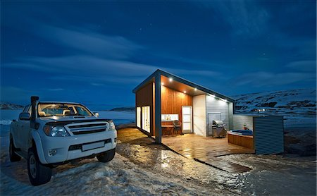 Truck parked outside chalet, Laugar, Iceland Stock Photo - Premium Royalty-Free, Code: 649-06813083
