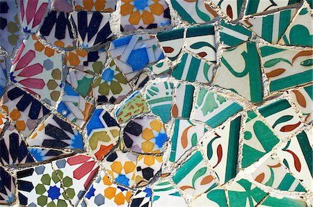 Multicoloured and cracked tiles in mosaic, Barcelona, Spain Stock Photo - Premium Royalty-Free, Code: 649-06829808