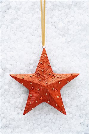 Red star shaped christmas decoration Stock Photo - Premium Royalty-Free, Code: 649-06830069