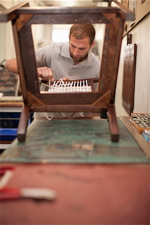 Woman weaving chair back Stock Photo - Premium Royalty-Free, Code: 649-06844088