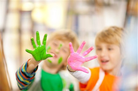 paint - Boys with paint on their hands Stock Photo - Premium Royalty-Free, Code: 649-06844168