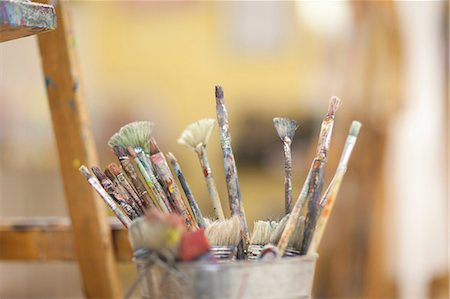 paint - Paintbrushes in pot Stock Photo - Premium Royalty-Free, Code: 649-06844176