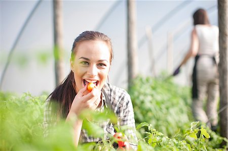 farmhand (female) - Young woman trying produce at vegetable farm Stock Photo - Premium Royalty-Free, Code: 649-06844238