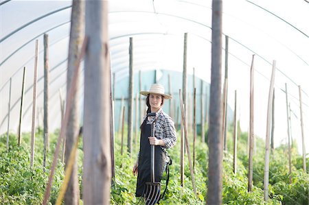 farmhand (female) - Young woman working in vegetable greenhouse Stock Photo - Premium Royalty-Free, Code: 649-06844247