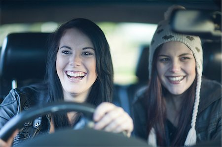 Two young women driving Stock Photo - Premium Royalty-Free, Code: 649-07064232