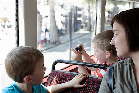 Mother and sons on double decker bus in London Stock Photo - Premium Royalty-Free, Code: 649-07064447