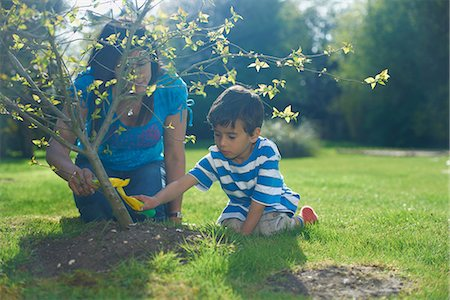 east indian mother and children - Mother and son planting tree in garden Stock Photo - Premium Royalty-Free, Code: 649-07064782
