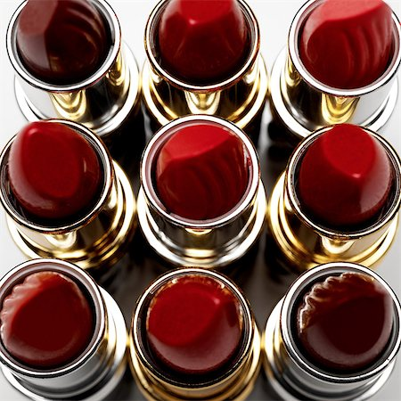 Elevated view of nine lipsticks Stock Photo - Premium Royalty-Free, Code: 649-07064995