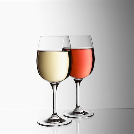 Glasses of white and rose wine Stock Photo - Premium Royalty-Free, Code: 649-07065069