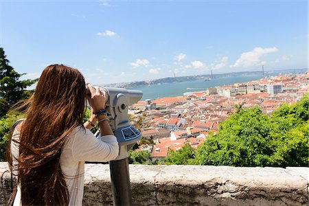 Young female tourist looking through coin operated binoculars in Lisbon, Portugal Stock Photo - Premium Royalty-Free, Code: 649-07063190