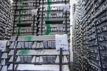 Stacked and stored aluminum ingots Stock Photo - Premium Royalty-Free, Code: 649-07063353