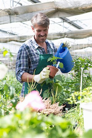 Organic farmer watering young plants Stock Photo - Premium Royalty-Free, Code: 649-07063415