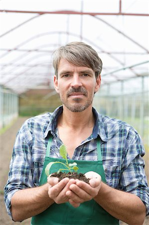 Portrait of organic farmer holding seedling in polytunnel Stock Photo - Premium Royalty-Free, Code: 649-07063426