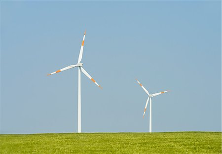 Two wind turbines, Selfkant, Germany Stock Photo - Premium Royalty-Free, Code: 649-07063472