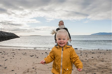family active beach - Grandmother and toddler at coast Stock Photo - Premium Royalty-Free, Code: 649-07063832