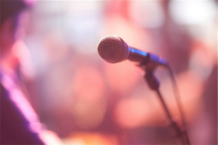 Close up of microphone on stage Stock Photo - Premium Royalty-Free, Code: 649-07063889