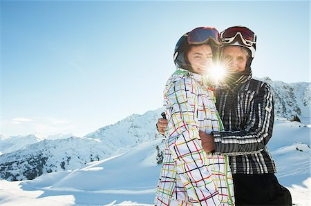 Grandmother and granddaughter hugging, Les Arcs, Haute-Savoie, France Stock Photo - Premium Royalty-Free, Code: 649-07118129