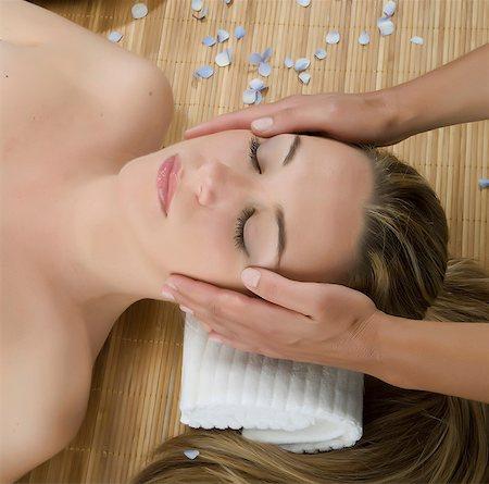 facial - Close up of woman having head massage Stock Photo - Premium Royalty-Free, Code: 649-07118656