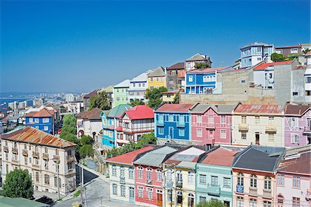 Traditional houses, Valparaiso, Chile Stock Photo - Premium Royalty-Free, Code: 649-07118764