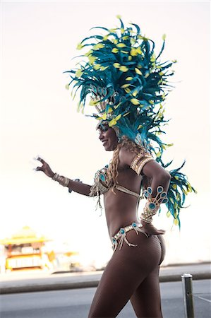 Samba dancer in motion, Ipanema Beach, Rio De Janeiro, Brazil Stock Photo - Premium Royalty-Free, Code: 649-07119513