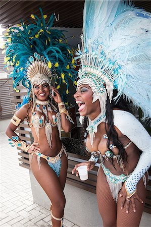 Samba dancers taking a break, Rio De Janeiro, Brazil Stock Photo - Premium Royalty-Free, Code: 649-07119523