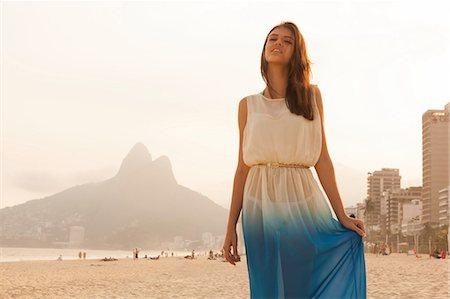 fashion - Portrait of young woman on Ipanema Beach, Rio de Janeiro, Brazil Stock Photo - Premium Royalty-Free, Code: 649-07119630