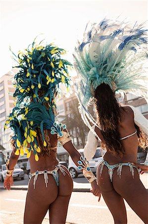 Samba dancers, rear view, Rio de Janeiro, Brazil Stock Photo - Premium Royalty-Free, Code: 649-07119859