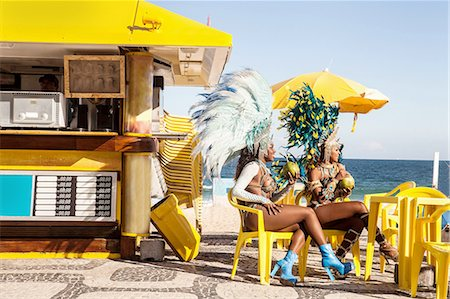 Samba dancers taking a break, Ipanema Beach, Rio De Janeiro, Brazil Stock Photo - Premium Royalty-Free, Code: 649-07119863