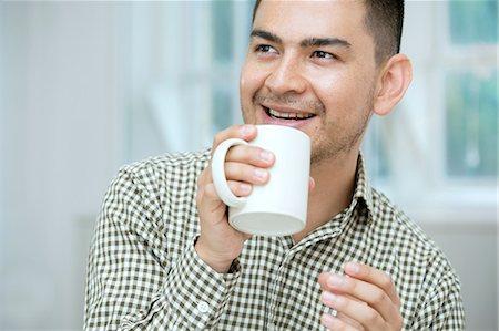 portrait looking away - Mid adult man having coffee Stock Photo - Premium Royalty-Free, Code: 649-07238271