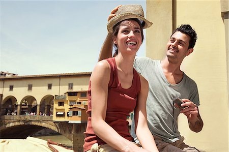 Man and woman by Ponte Vecchio, Florence, Tuscany, Italy Stock Photo - Premium Royalty-Free, Code: 649-07238579