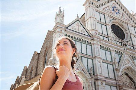 Woman outside Santa Croce church, Piazza di Santa Croce, Florence, Tuscany, Italy Stock Photo - Premium Royalty-Free, Code: 649-07238584