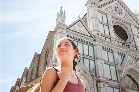 european (places and things) - Woman outside Santa Croce church, Piazza di Santa Croce, Florence, Tuscany, Italy Stock Photo - Premium Royalty-Free, Code: 649-07238584