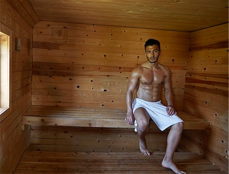 Portrait of muscular young man in sauna Stock Photo - Premium Royalty-Free, Code: 649-07238961