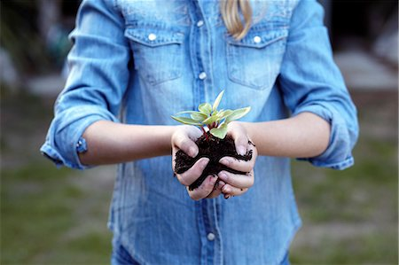 Close up of girl holding plant in pot soil Stock Photo - Premium Royalty-Free, Code: 649-07239024