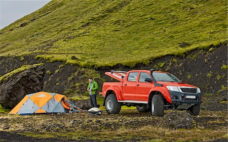 Customised SUV at remote camp on the Icelandic highlands, Hungurfit, Fjallabak, Iceland Stock Photo - Premium Royalty-Free, Code: 649-07239676
