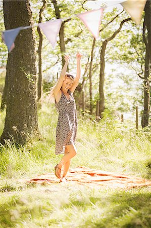 dancing - Young woman dancing in forest Stock Photo - Premium Royalty-Free, Code: 649-07279897