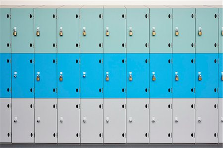 Rows of school lockers with doors closed Stock Photo - Premium Royalty-Free, Code: 649-07280053