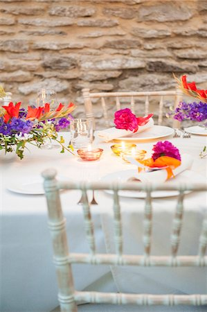 decoration - Detail of decorated table at wedding reception Stock Photo - Premium Royalty-Free, Code: 649-07280112