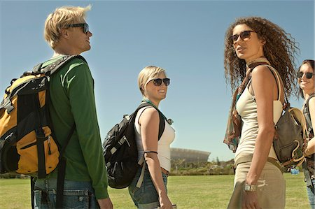 dark glasses - Four backpacker friends in park, Cape Town, South Africa Stock Photo - Premium Royalty-Free, Code: 649-07280148