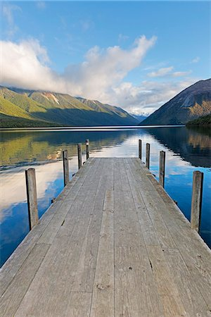 scenic view - Pier on lake Rotoiti, Nelson Lakes National Park, South Island, New Zealand Stock Photo - Premium Royalty-Free, Code: 649-07436625