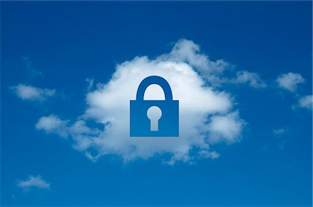 represented - Digital composite of cloud with padlock shape cut out, secure cloud computing Stock Photo - Premium Royalty-Free, Code: 649-07436664