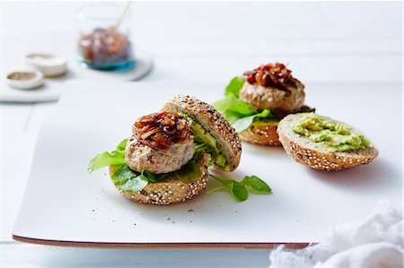 Still life of chicken and avocado burgers Stock Photo - Premium Royalty-Free, Code: 649-07437286