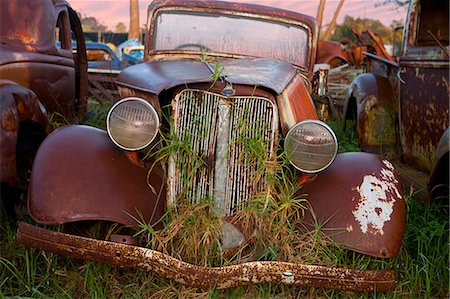 Close up of vintage car in scrap yard Stock Photo - Premium Royalty-Free, Code: 649-07437391